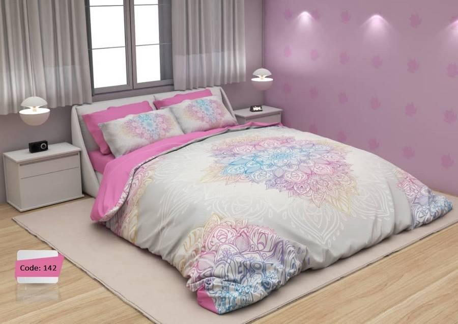 سرویس روتختی یک نفره گلدار صورتی و سفید | کالای خواب بدروم
