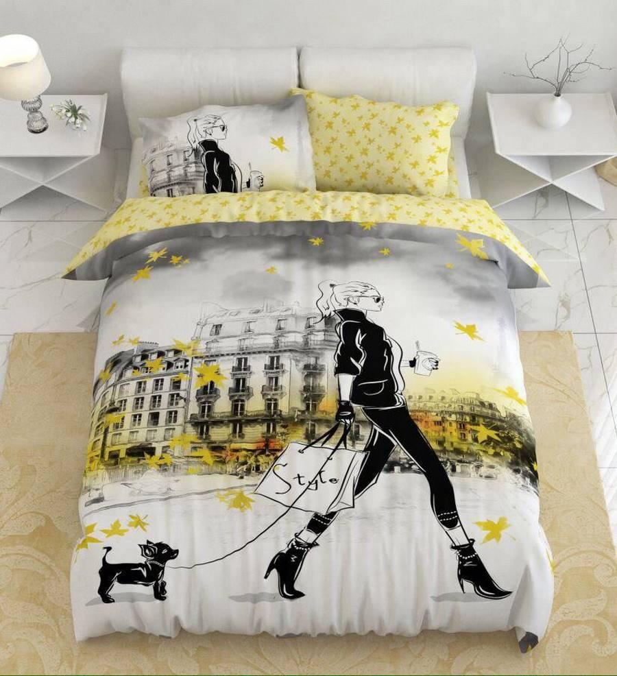 سرویس روتختی یک نفره زرد و طوسی | کالای خواب بدروم