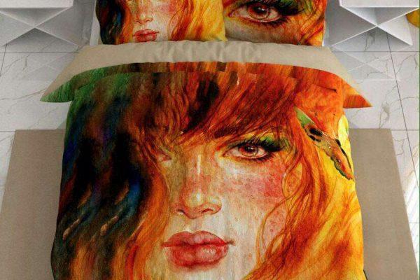 سرویس روتختی یک نفره طرح دختر مو قرمز | کالای خواب بدروم