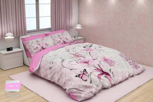 سرویس روتختی یک نفره گلدار سفید و صورتی   کالای خواب بدروم
