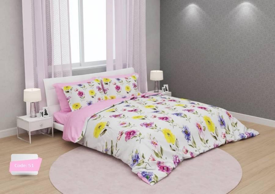 سرویس روتختی یک نفره گلدار صورتی سفید   کالای خواب بدروم