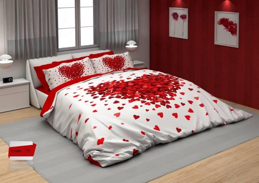 سرویس روتختی یک نفره طرح قلب های قرمز   کالای خواب بدروم