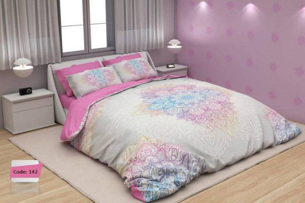 سرویس روتختی دونفره گلدار صورتی و سفید | کالای خواب بدروم