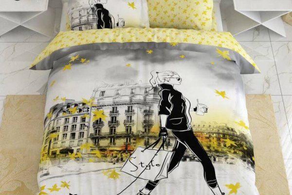 سرویس روتختی دونفره زرد و طوسی | کالای خواب بدروم