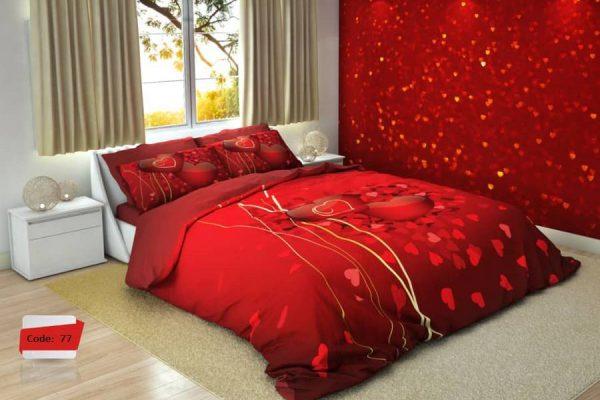 سرویس روتختی دونفره طرح قلب قرمز | کالای خواب بدروم