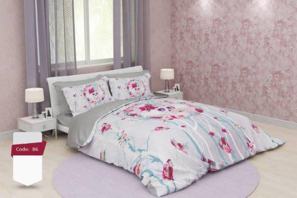 سرویس روتختی دونفره گلدار طوسی و قرمز | کالای خواب بدروم
