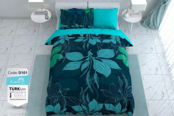سرویس روتختی یک نفره گلدار آبی و سورمه ای | کالای خواب بدروم