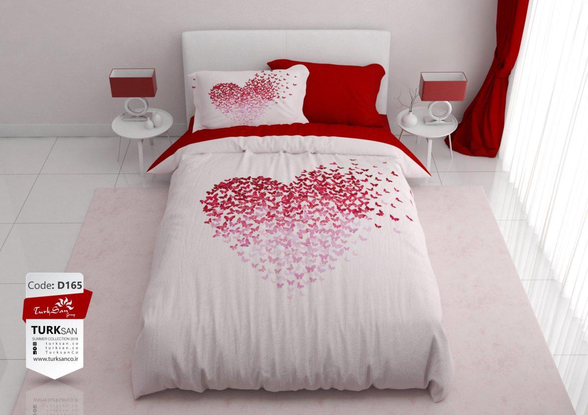 سرویس روتختی یک نفره طرح قلب سفید قرمز | کالای خواب بدروم