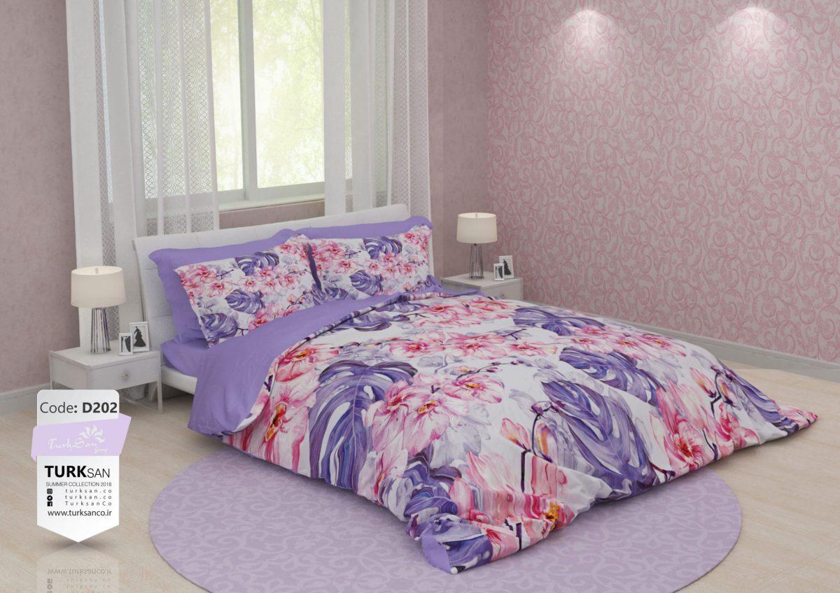سرویس روتختی یک نفره گلدار بنفش و صورتی | کالای خواب بدروم