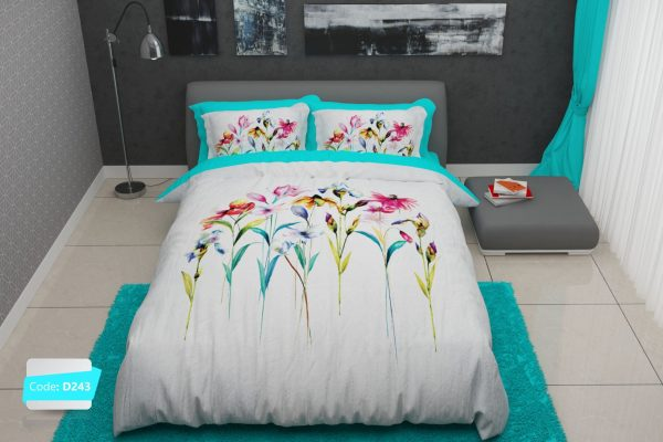سرویس روتختی دونفره گلدار سفید و آبی | کالای خواب بدروم