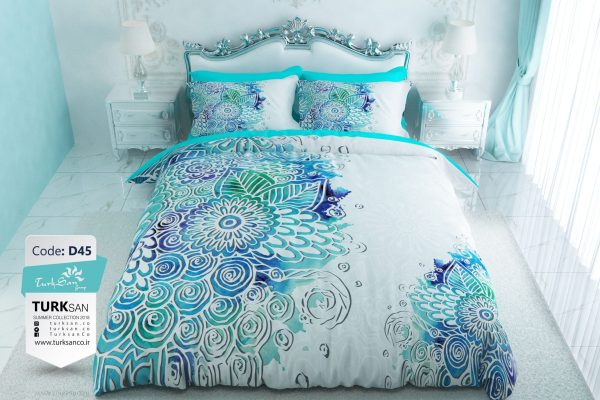 سرویس روتختی یک نفره مدرن سفید آبی | کالای خواب بدروم