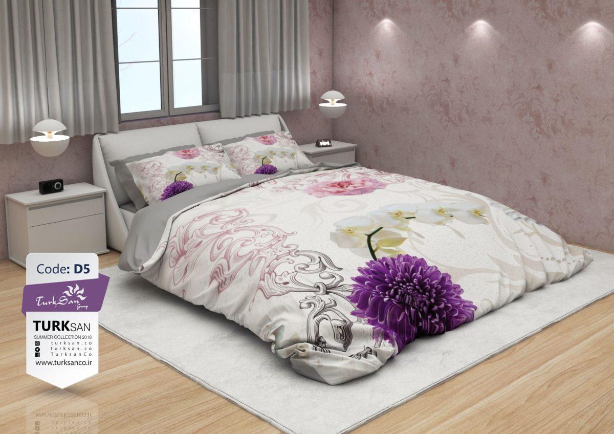 سرویس روتختی دونفره سه بعدی گلدار بنفش | کالای خواب بدروم
