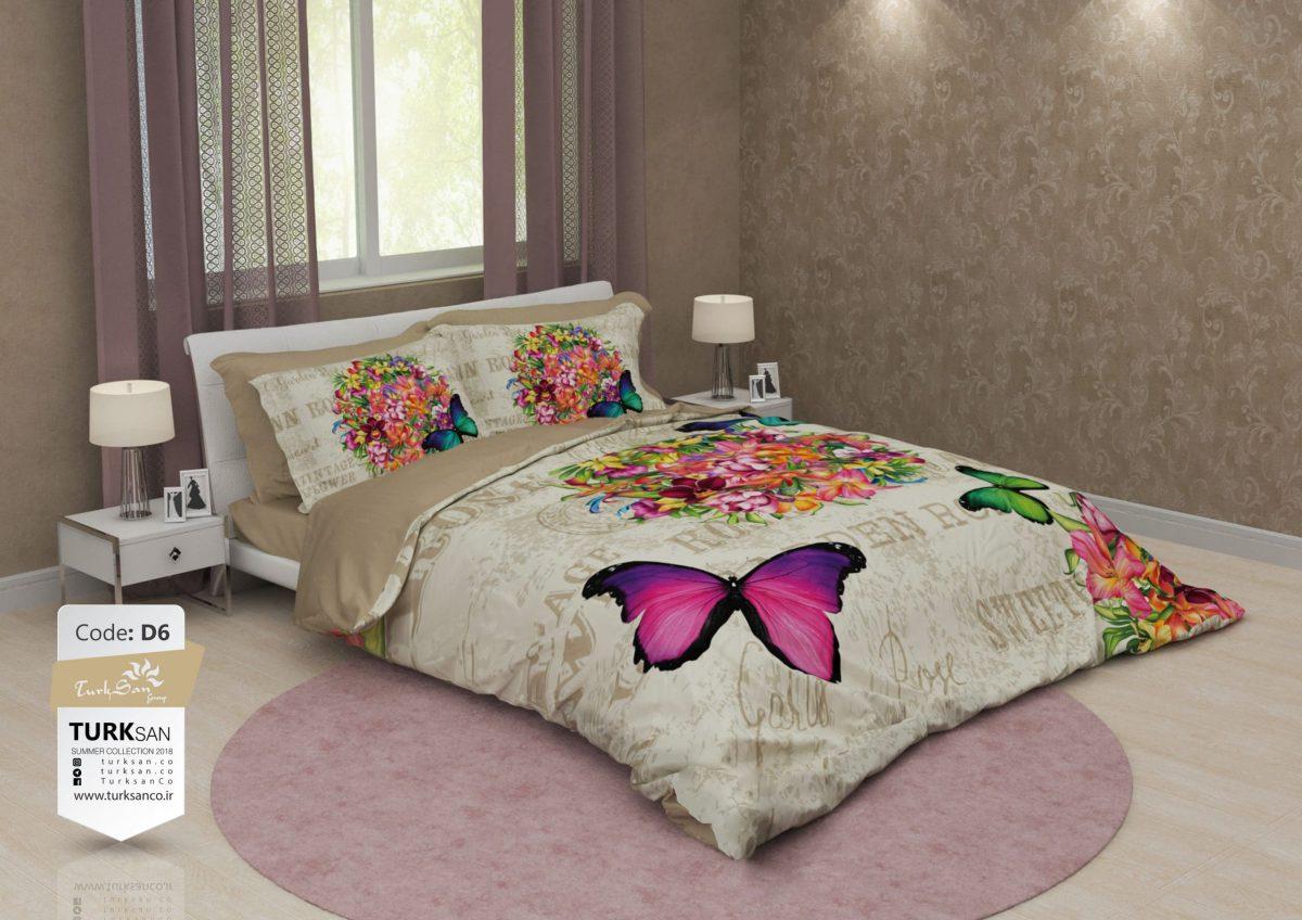 سرویس روتختی دو نفره گل و پروانه سبز و بنفش | کالای خواب بدرومبدروم