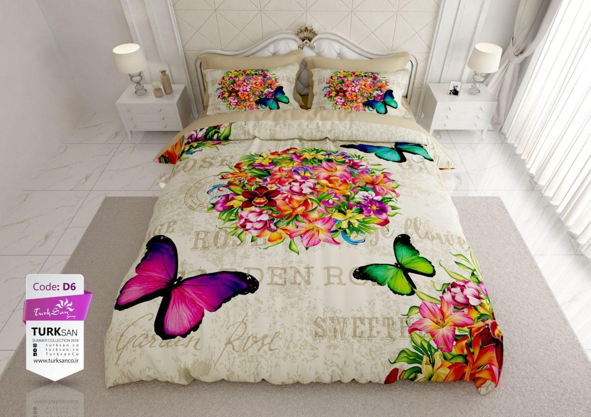 سرویس روتختی یک نفره گل و پروانه سبز و بنفش | کالای خواب بدروم