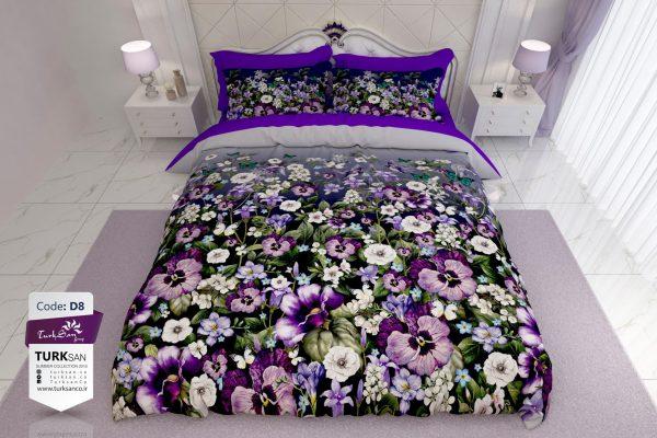 سرویس روتختی یک نفره کلاسیک گلدار بنفش | کالای خواب بدروم