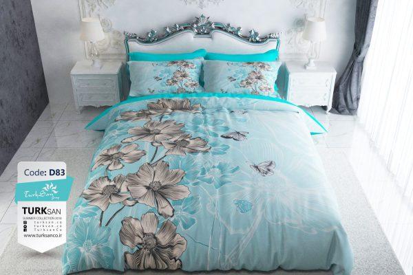سرویس روتختی دونفره گلدار آبی طوسی | کالای خواب بدروم