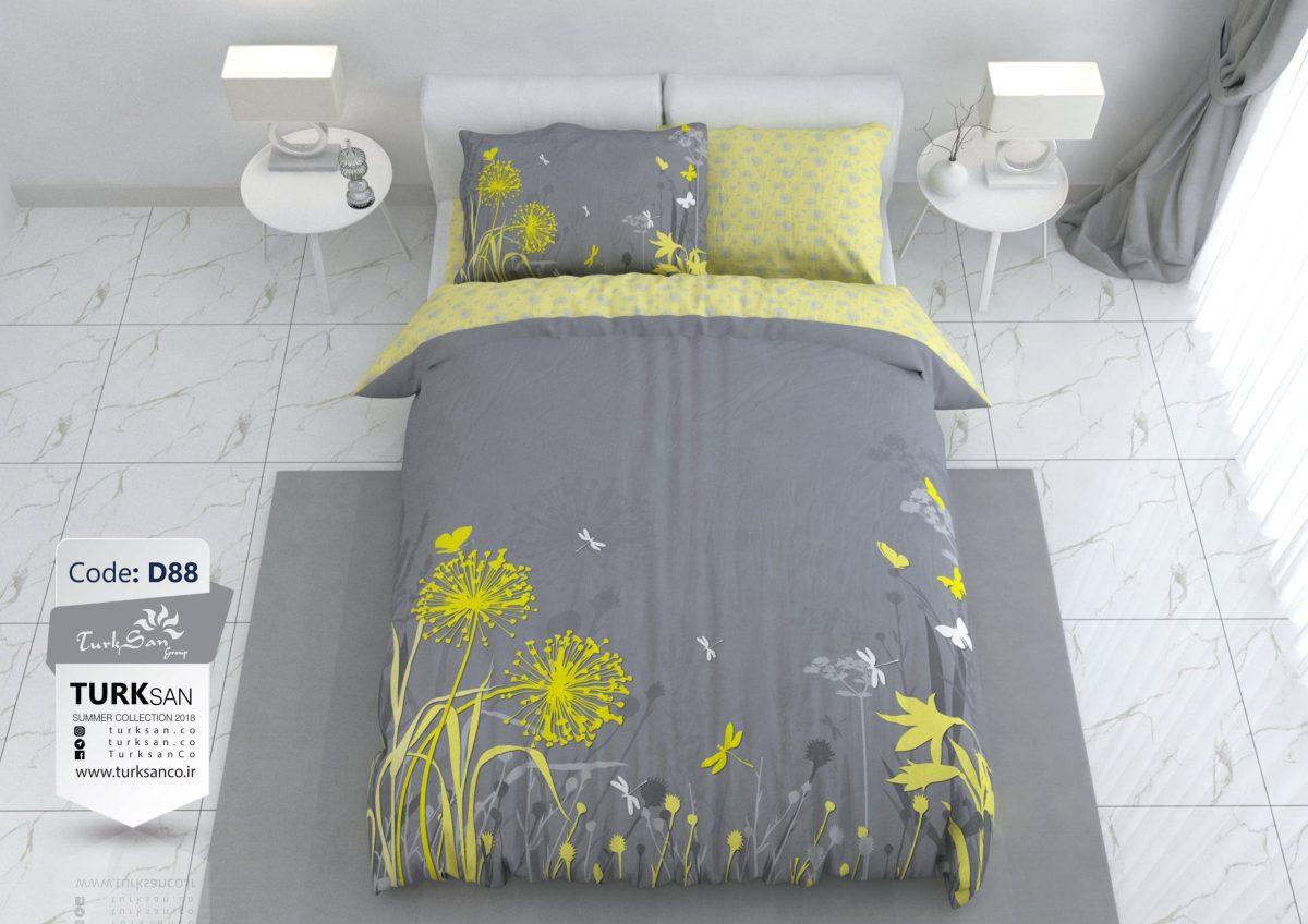 سرویس روتختی یک نفره گلدار طوسی و زرد | کالای خواب بدروم