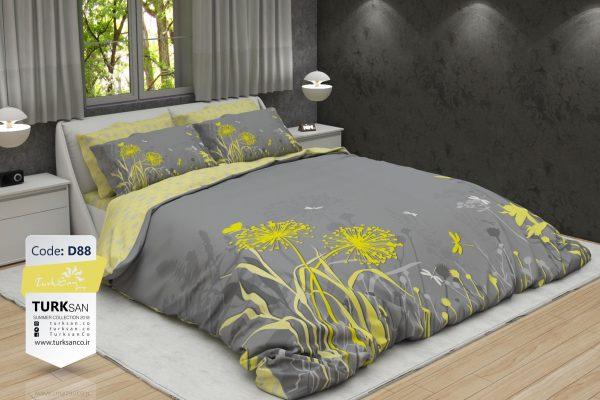 سرویس روتختی دونفره گلدار طوسی و زرد | کالای خواب بدروم