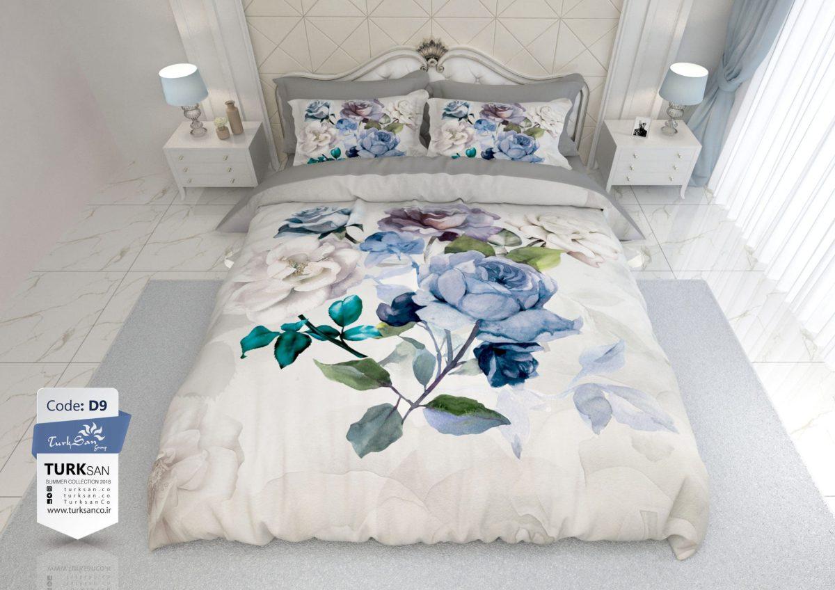 سرویس روتختی یک نفره کلاسیک گلدار طوسی | کالای خواب بدروم