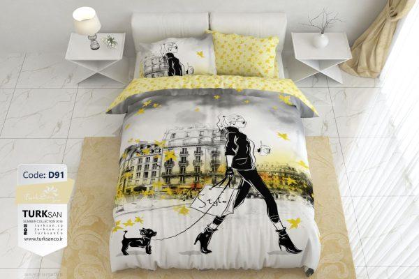 سرویس روتختی دونفره دخترانه مدرن زرد | کالای خواب بدروم