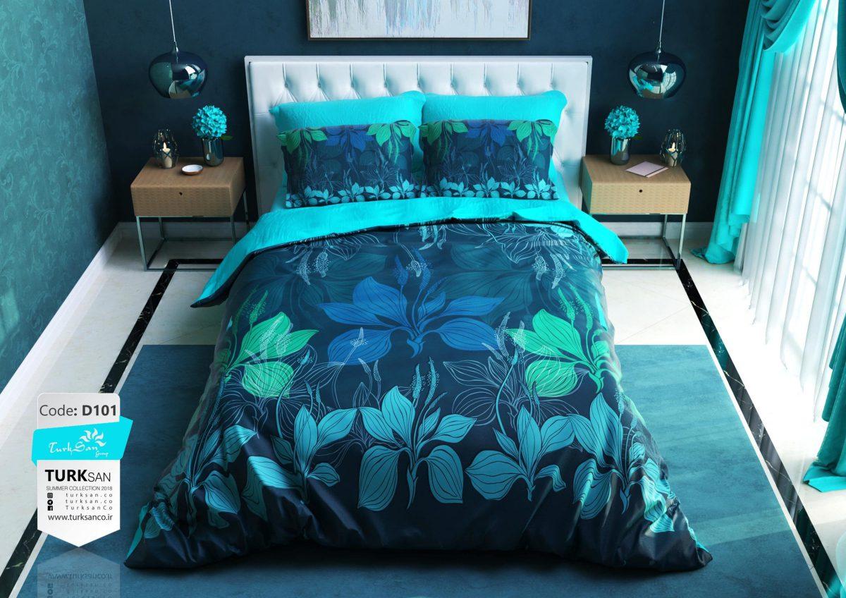 سرویس روتختی دونفره گلدار آبی و سورمه ای | کالای خواب بدروم
