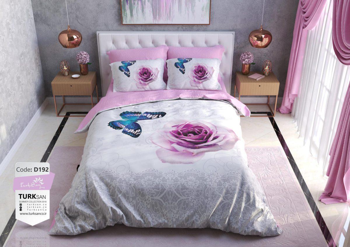 سرویس روتختی یک نفره گل و پروانه صورتی | کالای خواب بدروم