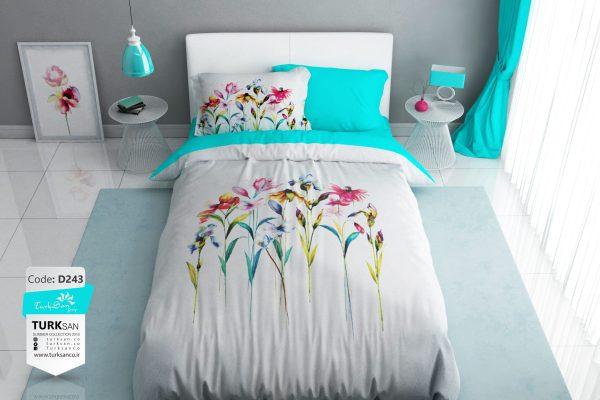 سرویس روتختی یک نفره گلدار سفید و آبی | کالای خواب بدروم