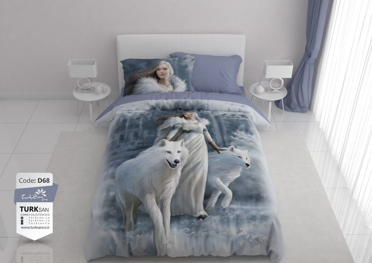 سرویس روتختی دونفره دختر و گرگ سفید | کالای خواب بدروم
