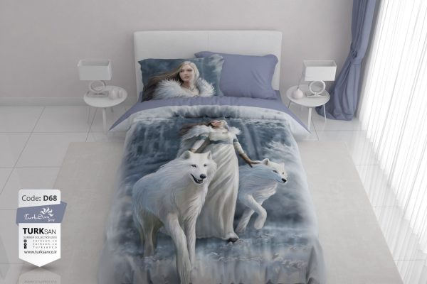 سرویس روتختی یک نفره دختر و گرگ سفید | کالای خواب بدروم