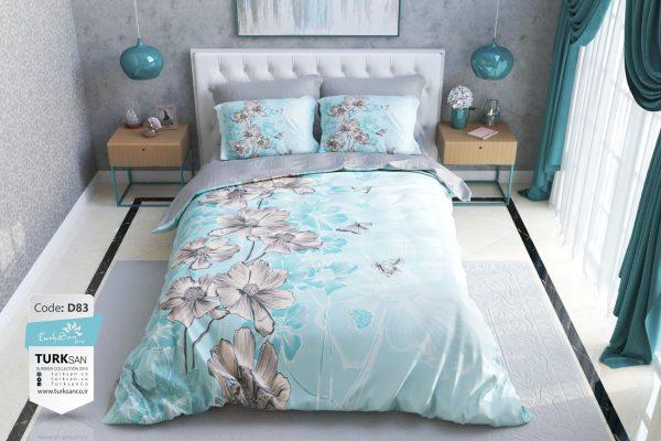 سرویس روتختی یک نفره گلدار آبی طوسی   کالای خواب بدروم