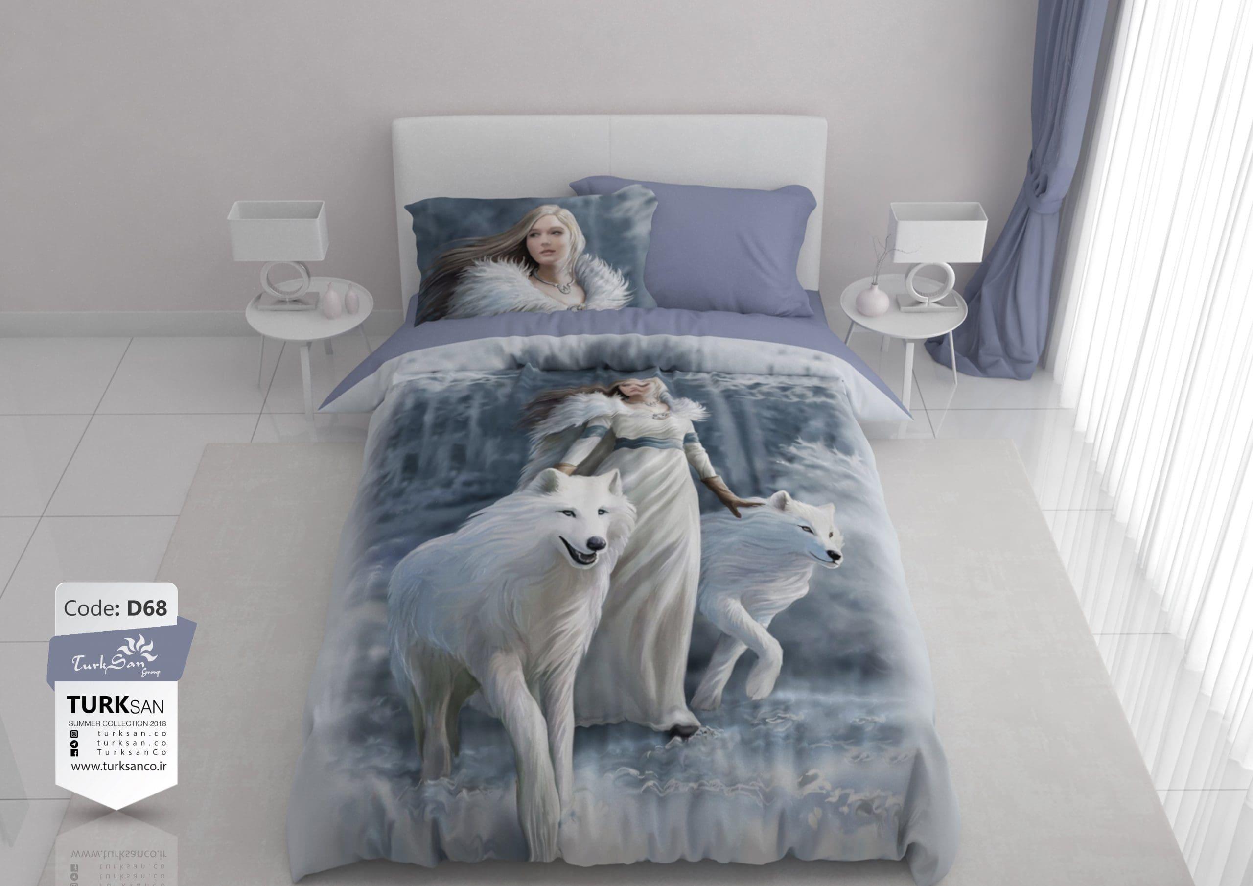 سرویس روتختی یک نفره دختر و گرگ سفید   کالای خواب بدروم