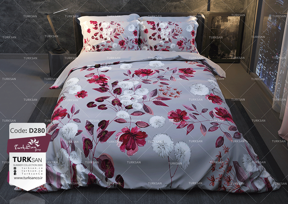 سرویس روتختی یک نفره گل قرمز و سفید | کالای خواب بدروم