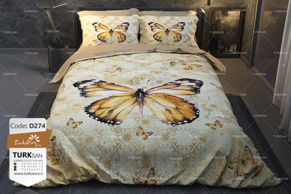 سرویس روتختی یک نفره طرح پروانه طلایی | کالای خواب بدروم
