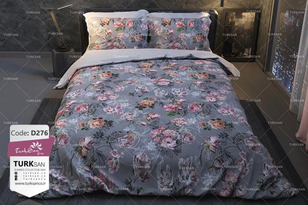 سرویس روتختی دونفره کلاسیک گلدار طوسی | کالای خواب بدروم
