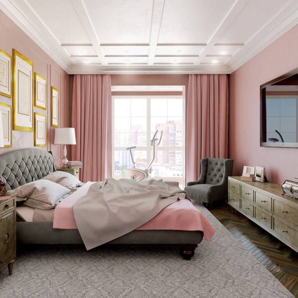 اتاق خواب طوسی صورتی مدرن | کالای خواب بدروم