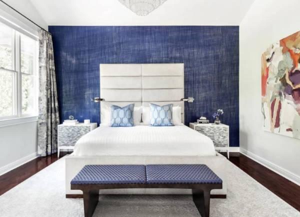 اتاق خواب شیک آبی سفید | کالای خواب بدروم
