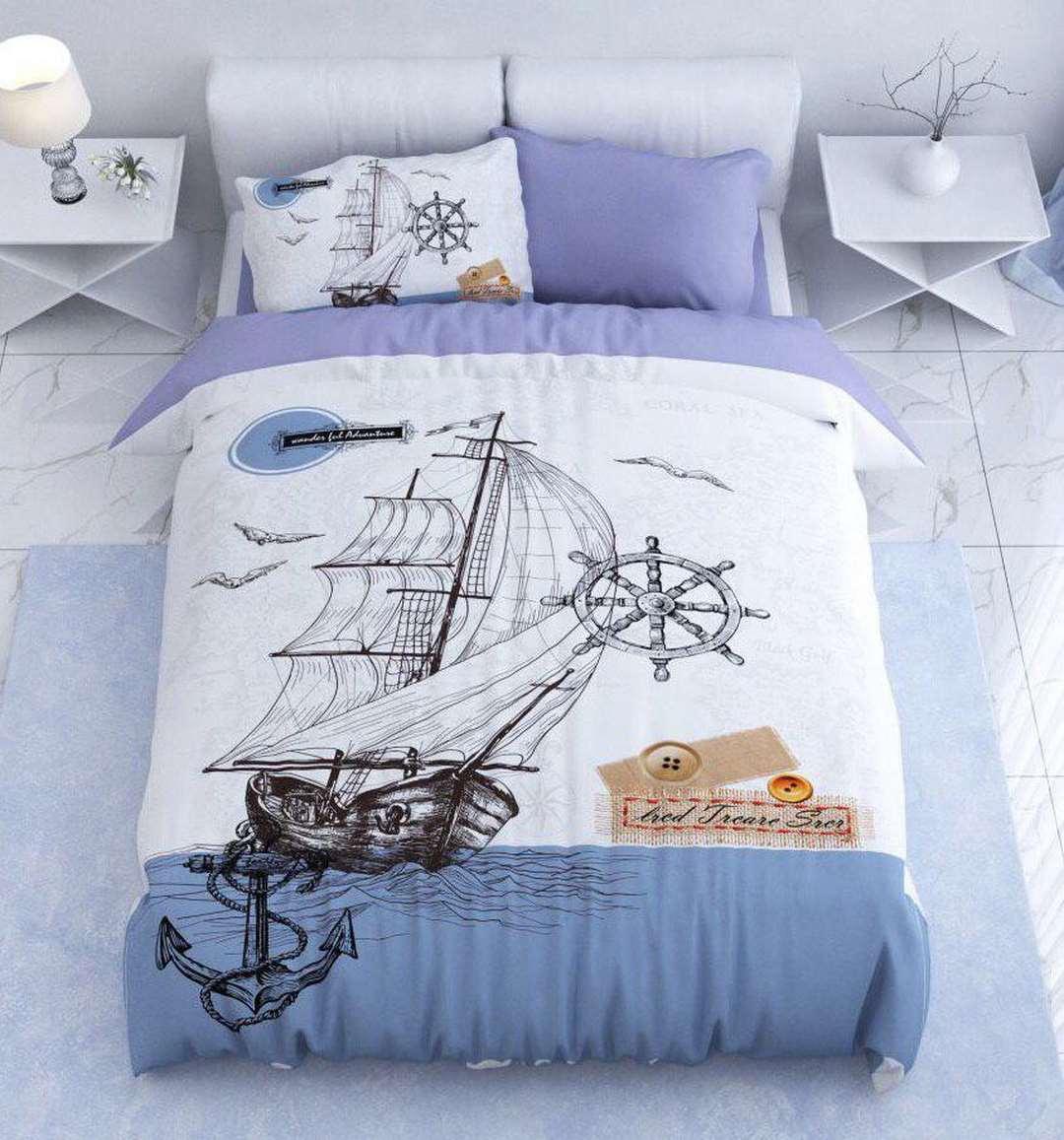سرویس روتختی یک نفره طرح کشتی مدل های جذاب روتختی   کالای خواب بدروم