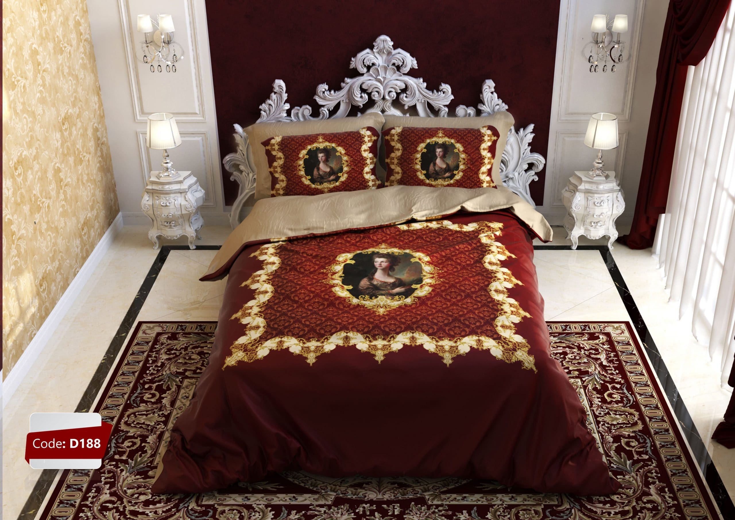 ترکیب قهوه ای و قرمز - ست کردن رنگ روتختی با تخت قهوه ای   کالای خواب بدروم