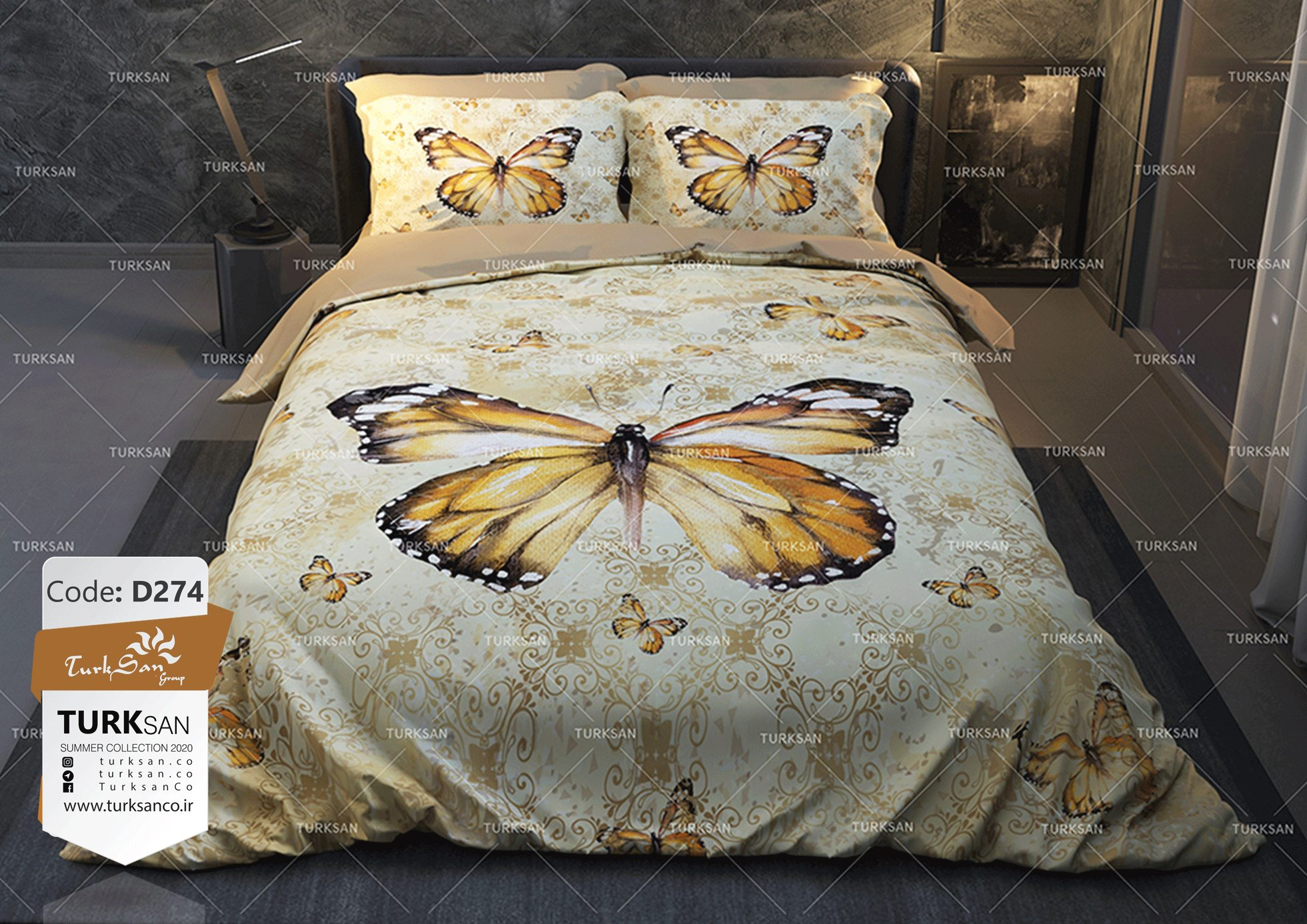سرویس روتختی دونفره طرح پروانه طلایی | کالای خواب بدروم