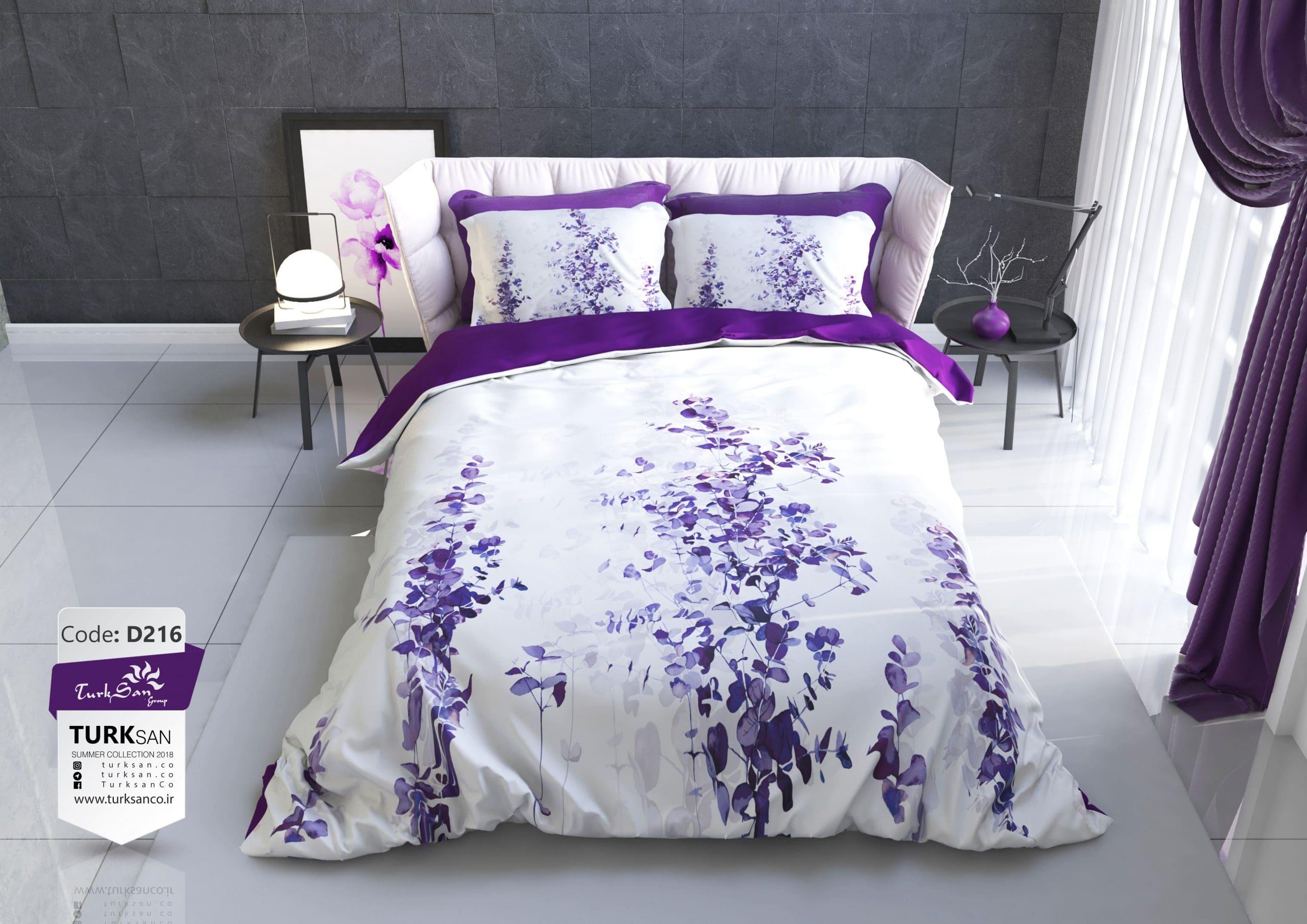 سرویس روتختی یک نفره گلدار سفید و بنفش | کالای خواب بدروم