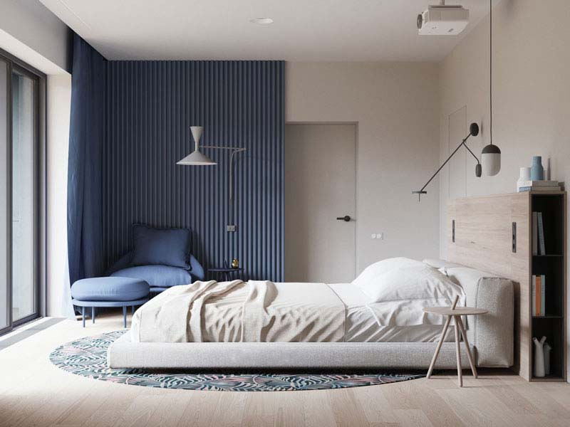کاربرد رنگ آبی در اتاق خواب لوکس | کالای خواب بدروم