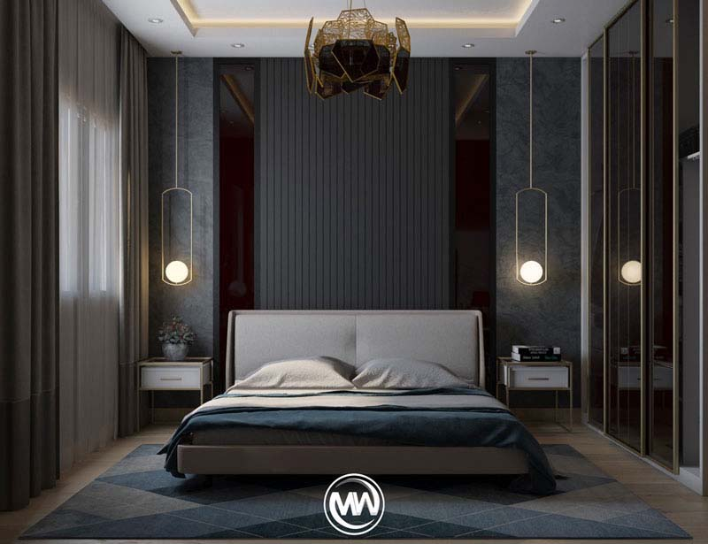 استفاده از رنگ های تیره فریبنده همراه با چراغ های آویز | کالای خواب بدروم