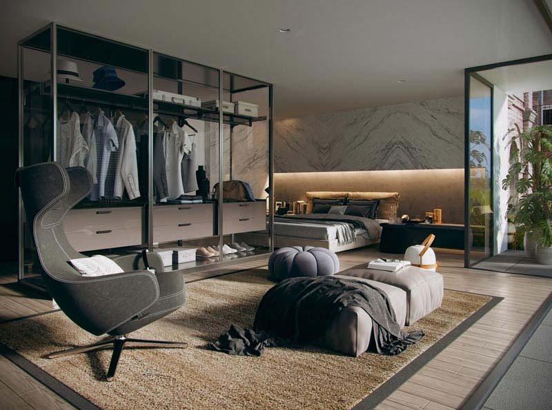 در معرض دید قرار دادن درون کمد دیواری اتاق خواب مجلل | کالای خواب بدروم