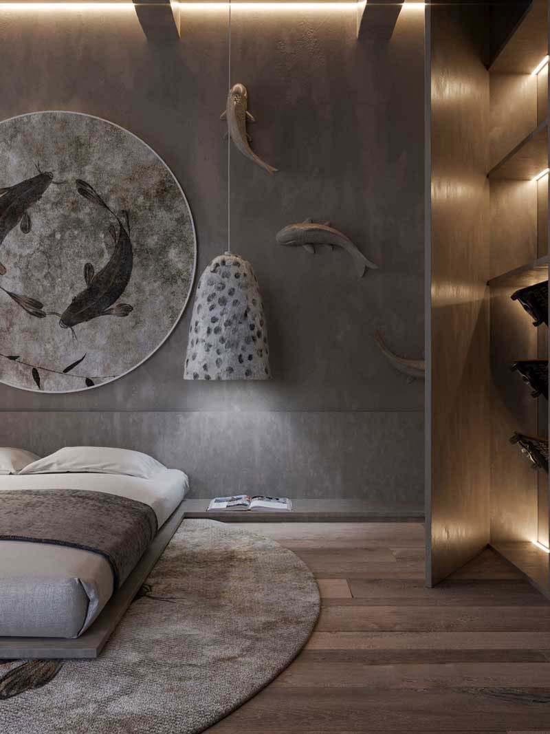 استفاده از هنر دیوار سه بعدی اتاق خواب لاکچری | کالای خواب بدروم