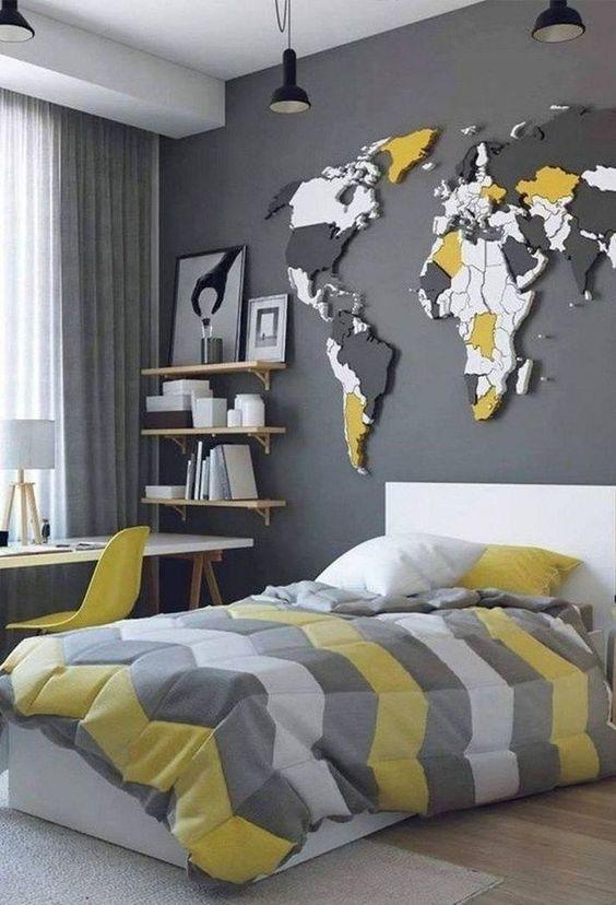 رنگ طوسی یا خاکستری دکوراسیون اتاق پسرانه | کالای خواب بدروم