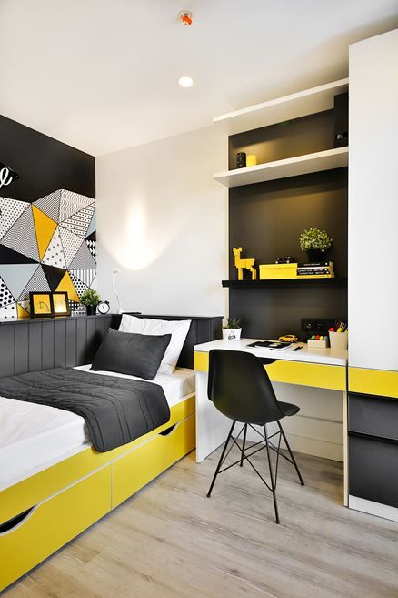 رنگ زرد دکوراسیون اتاق پسرانه | کالای خواب بدروم