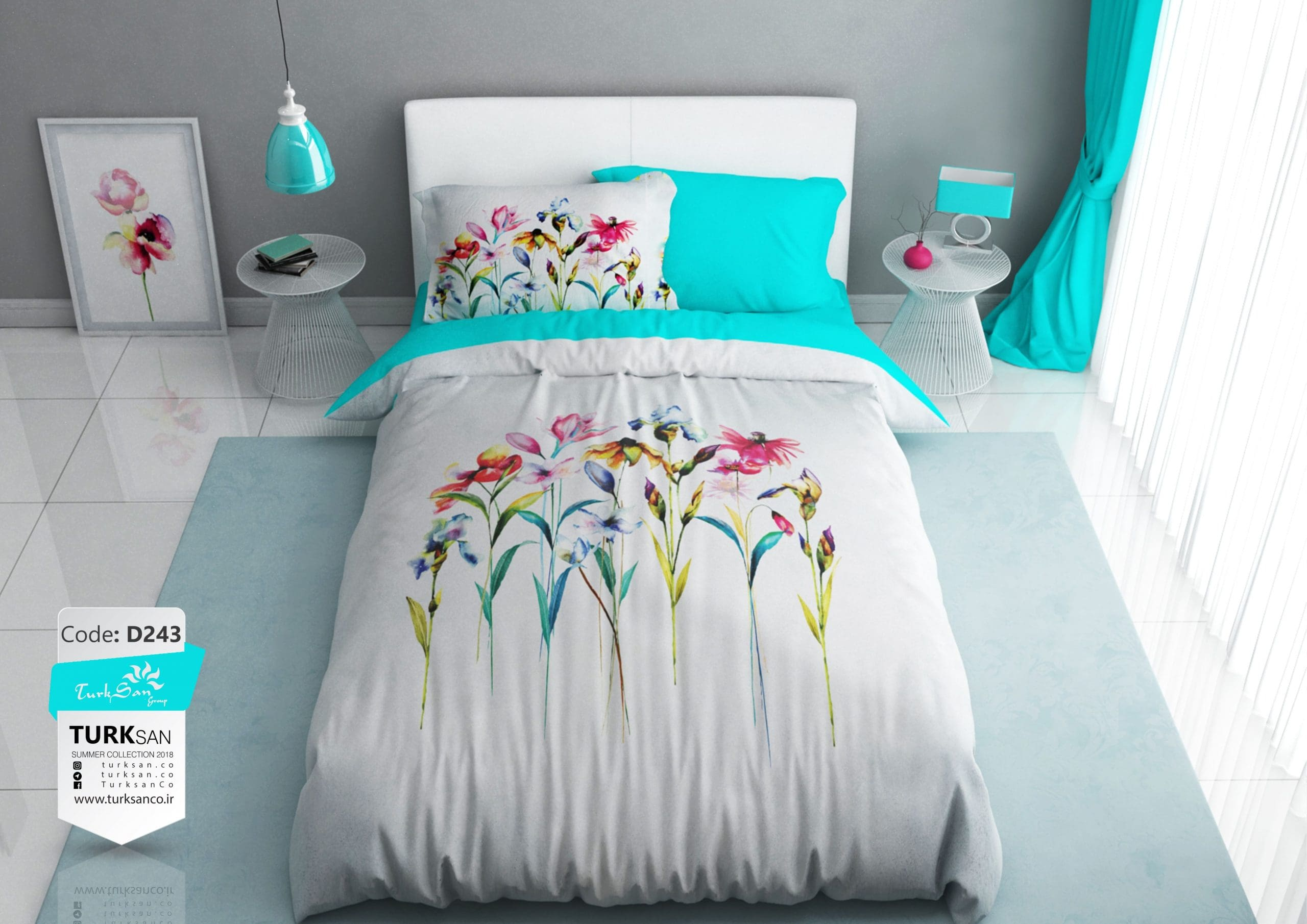 سرویس روتختی یک نفره گلدار سفید و آبی   کالای خواب بدروم