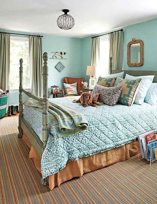 طوسی و آبی کم رنگ مایل به سبز | کالای خواب بدروم