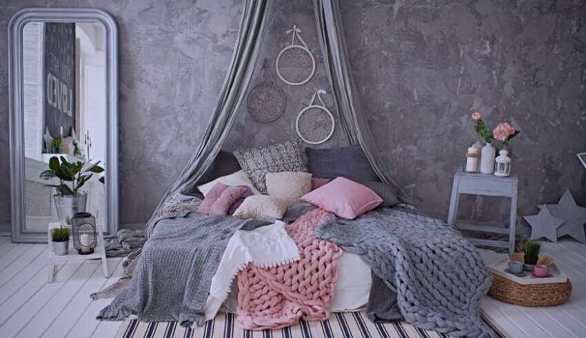 طوسی و صورتی روتختی مناسب تخت طوسی | کالای خواب بدروم